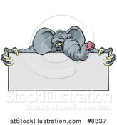 Vector Illustration of a Clawed Elephant Monster Mascot Holding a Blank Sign by AtStockIllustration