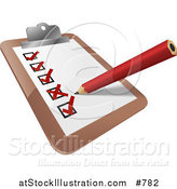 Vector Illustration of a Clipboard with a Pencil and Check List by AtStockIllustration
