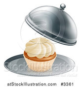 Vector Illustration of a Cloche Platter with a Cupcake by AtStockIllustration