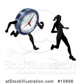 Vector Illustration of a Clock Character and Woman Running by AtStockIllustration