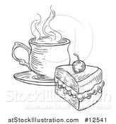 Vector Illustration of a Coffee and Piece of Victoria Sponge Cake, Black and White Engraved Style by AtStockIllustration