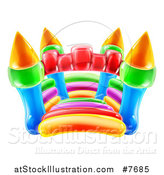 Vector Illustration of a Colorful Bouncy Castle Jumping House by AtStockIllustration