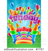 Vector Illustration of a Colorful Bouncy Castle Jumping House with Party Balloons and Fun Day Text by AtStockIllustration