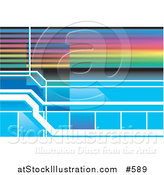 Vector Illustration of a Colorful Rainbow and Blue Background by AtStockIllustration