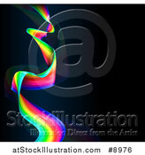Vector Illustration of a Colorful Rainbow Wave, or Long Flag over Black by AtStockIllustration