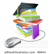 Vector Illustration of a Colorful Stack of Books with a Graduation Cap and Computer Mouse by AtStockIllustration