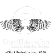 Vector Illustration of a Coloring Page of Two Open Feathered Wings by AtStockIllustration
