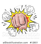Vector Illustration of a Comic Explosion and Fisted Hand by AtStockIllustration