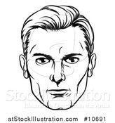 Vector Illustration of a Comic Styled Black and White Man's Face by AtStockIllustration