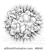 Vector Illustration of a Comic Styled Fighting Cloud with Feet and Legs over Halftone by AtStockIllustration