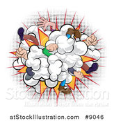 Vector Illustration of a Comic Styled Fighting Dust Cloud with Feet and Legs over Halftone by AtStockIllustration