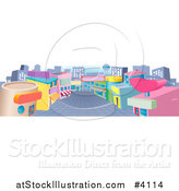 Vector Illustration of a Commercial Retail Street with Shops by AtStockIllustration