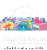Vector Illustration of a Commercial Street with Shops and a Road by AtStockIllustration