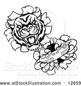 Vector Illustration of a Competitive Tiger Mascot Playing Video Game Control - Black Outline by AtStockIllustration