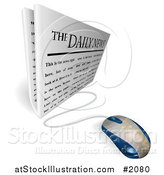Vector Illustration of a Computer Mouse Connected to a Daily Newspaper by AtStockIllustration