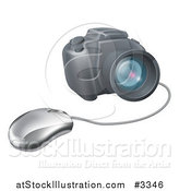 Vector Illustration of a Computer Mouse Connected to a DSLR Camera by AtStockIllustration