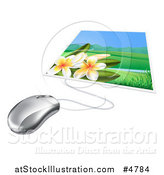 Vector Illustration of a Computer Mouse Connected to a Photo of Fangipani Flowers by AtStockIllustration