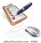 Vector Illustration of a Computer Mouse Connected to a Survey Clipboard by AtStockIllustration