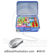 Vector Illustration of a Computer Mouse Connected to a Vacation Suitcase by AtStockIllustration