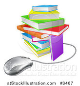 Vector Illustration of a Computer Mouse Wired to a Colorful Stack of Books by AtStockIllustration