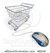 Vector Illustration of a Computer Mouse Wired to a Shopping Cart by AtStockIllustration