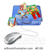 Vector Illustration of a Computer Mouse Wired to a Travel Suitcase by AtStockIllustration