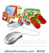 Vector Illustration of a Computer Mouse Wired to Travel Items by AtStockIllustration