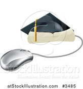 Vector Illustration of a Computer Mouse with a Graduation Cap and Diploma by AtStockIllustration