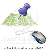 Vector Illustration of a Computer Mouse with a Pin Pointing to a Spot on a Map by AtStockIllustration
