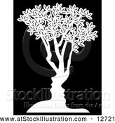 Vector Illustration of a Concept White Tree with Black Male and Female Facing Each Other by AtStockIllustration