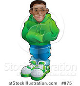 Vector Illustration of a Cool African American Teenage Boy in a Green Hoodie Sweater, Blue Jeans and Green and White Sneakers, Standing with His Hands in the Pocket of His Sweater by AtStockIllustration