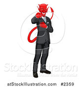 Vector Illustration of a Corrupt Devil Businessman Pointing Outwards by AtStockIllustration