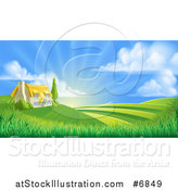 Vector Illustration of a Cottage Farm House Atop a Hill with Fields at Sunrise by AtStockIllustration