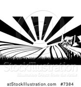 Vector Illustration of a Cottage Farm House on a Hill with the Sunrise and Fields in Black and White by AtStockIllustration