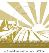 Vector Illustration of a Cottage Farmhouse Atop a Hill with Fields at Sunrise by AtStockIllustration