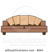 Vector Illustration of a Couch Pillows on a Brown Sofa by AtStockIllustration
