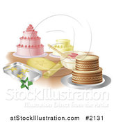 Vector Illustration of a Counter Top with Cakes and Cookies by AtStockIllustration