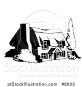 Vector Illustration of a Country Cottage House in Black and White by AtStockIllustration