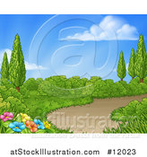 Vector Illustration of a Country Garden with a Path on a Beautiful Spring Day by AtStockIllustration