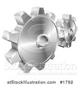 Vector Illustration of a Couple of Shiny Metallic Gear Cog Wheels by AtStockIllustration