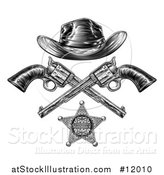 Vector Illustration of a Cowboy Hat over Crossed Guns and a Sheriff Badge in Black and White by AtStockIllustration
