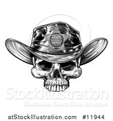 Vector Illustration of a Cowboy Skull Wearing a Sheriff Hat, Black and White Vintage Engraved by AtStockIllustration