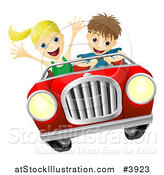 Vector Illustration of a Crazy Driver Teen Boy and Happy Girl Passenger by AtStockIllustration