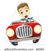 Vector Illustration of a Crazy Man Driving a Convertible Car by AtStockIllustration