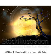 Vector Illustration of a Creepy Dead Tree on a Hill Against a Full Yellow Moon and Night Sky by AtStockIllustration