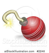 Vector Illustration of a Cricket Ball Cherry Bomb with Lit Fuse Burning down by AtStockIllustration