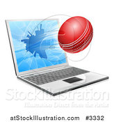 Vector Illustration of a Cricket Ball Flying Through and Shattering a 3d Laptop Screen by AtStockIllustration