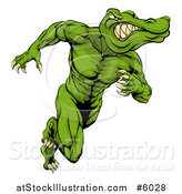 Vector Illustration of a Crocodile or Alligator Man Running Upright by AtStockIllustration