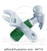 Vector Illustration of a Crossed Adjustable Wrench and Hammer by AtStockIllustration