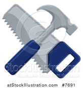 Vector Illustration of a Crossed Blue Handled Hammer and Hand Saw by AtStockIllustration